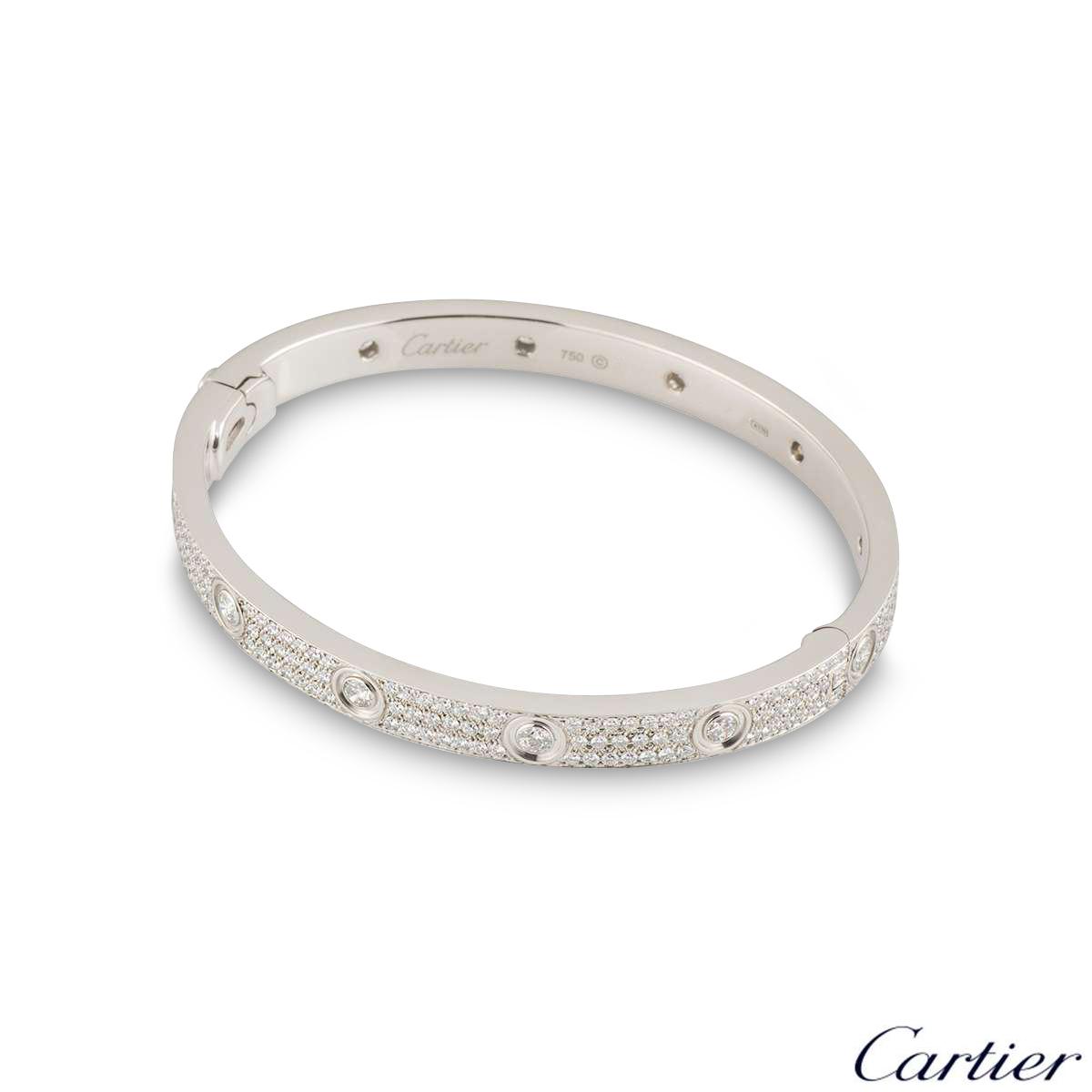 Cartier White Gold Pave Diamond LoveBracelet Size 20N6033602